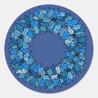 Sticker Rond Bleu - guirlande bleue de Noël
