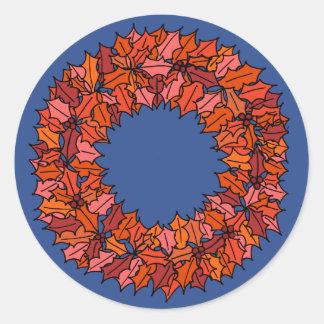 Sticker Rond Bleu - guirlande rouge de Noël