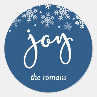 Sticker Rond Bleu marine de flocon de neige de vacances de joie