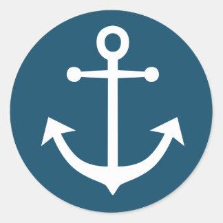 Sticker Rond Bleu marine et blanc nautique d'ancre de bateau