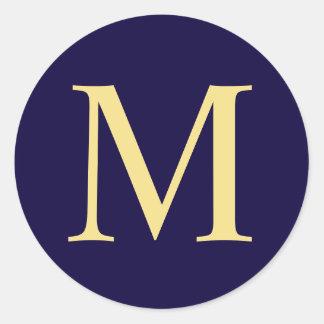 Sticker Rond Bleu marine et monogramme élégant d'or