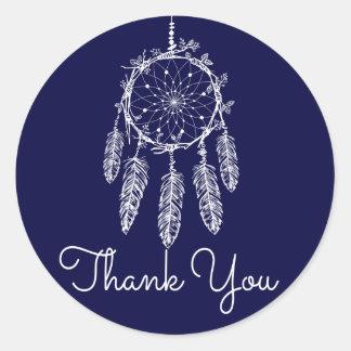 Sticker Rond Bleu marine tribal de receveur de rêve de Merci