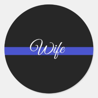Sticker Rond Blue Line mince : Épouse de police