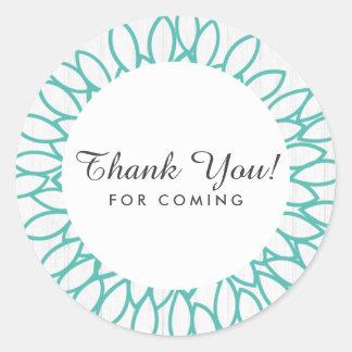 Sticker Rond Bois blanc et faveur florale turquoise de Merci de