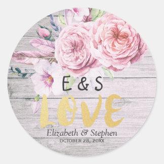 Sticker Rond Bois rustique floral d'aquarelle de Merci de