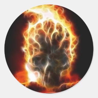 Sticker Rond Bombe atomique de crâne