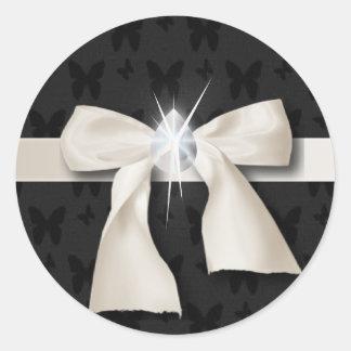 Sticker Rond Bonbon blanc 16 à arc de diamant