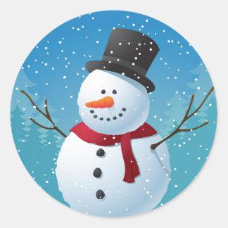 Sticker Rond Bonhomme de neige