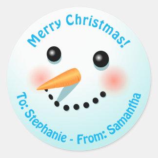 Sticker Rond Bonhomme de neige de sourire frais avec le nez de
