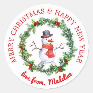 Sticker Rond Bonhomme de neige en guirlande de Noël