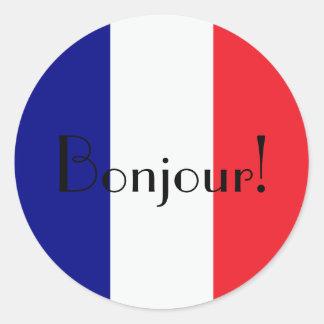 Sticker Rond Bonjour avec le drapeau français dans blanc et