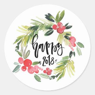 Sticker Rond Bonne année 2018 de guirlande de houx d'aquarelle