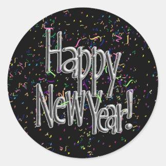 Sticker Rond Bonne année - confettis argentés des textes