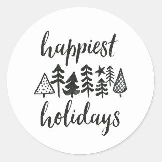 Sticker Rond Bonnes fêtes arbres de Noël d'aquarelle ronds