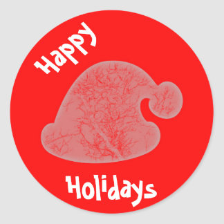 Sticker Rond Bonnes fêtes autocollant/joint rouges ronds du