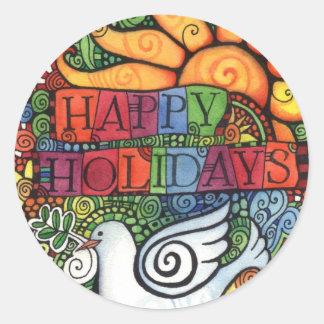 Sticker Rond Bonnes fêtes colombe de paix de Joyeux Noël