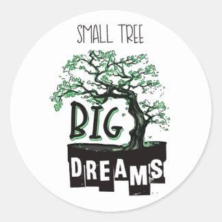 Sticker Rond Bonsaïs - grands rêves de petit arbre