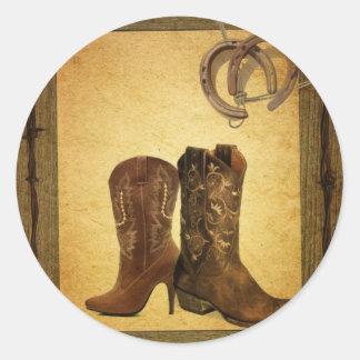 Sticker Rond bottes de cowboy en fer à cheval primitives de