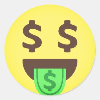 Sticker Rond Bouche Emoji d'argent