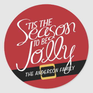 Sticker Rond Boucle de suite de Père Noël avec Tis la saison