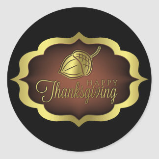 Sticker Rond Bouclier de bon thanksgiving avec le gland