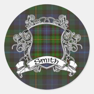 Sticker Rond Bouclier de tartan de Smith