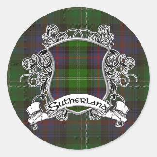 Sticker Rond Bouclier de tartan de Sutherland
