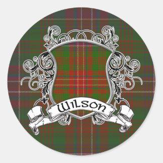 Sticker Rond Bouclier de tartan de Wilson