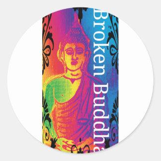 Sticker Rond Bouddha cassé au néon