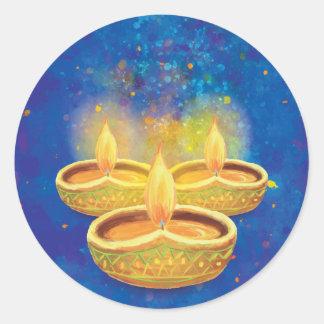 Sticker Rond Bougies illuminating peintes à la main heureuses