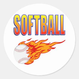 Sticker Rond Boule blanche de flamme du base-ball
