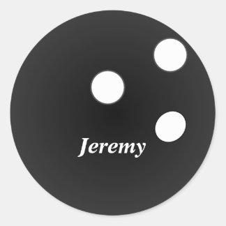 Sticker Rond Boule de bowling noire, modèle personnalisable