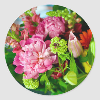 Sticker Rond Bouquet de pivoine