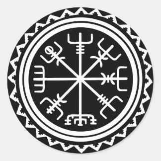 Sticker Rond Boussole de Viking Vegvisir