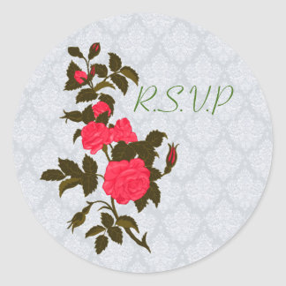 Sticker Rond Branche des roses roses