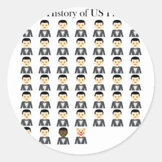 Sticker Rond Bref historique des présidents des USA