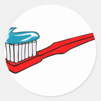 Sticker Rond Brosse à dents et pâte dentifrice