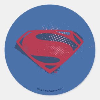 Sticker Rond Brosse de la ligue de justice | et symbole tramé