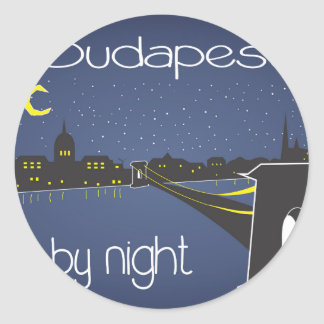 Sticker Rond Budapest By Night