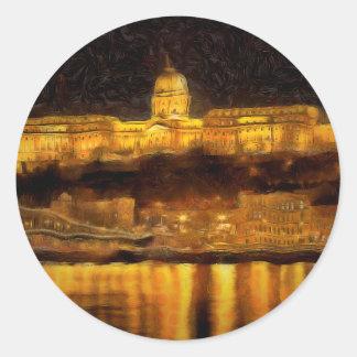 Sticker Rond Budapest Van Gogh