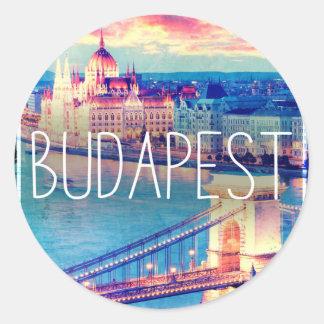 Sticker Rond Budapest, vintage affiche