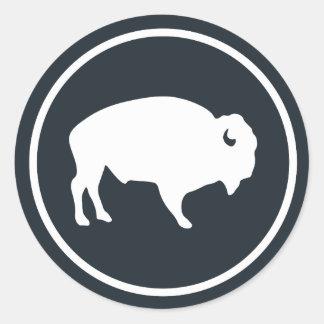 Sticker Rond Buffalo blanc dehors