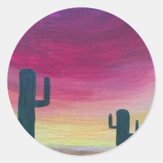 Sticker Rond Cactus de désert