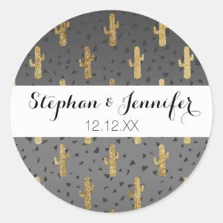 Sticker Rond Cactus d'or sur le gradient chic moderne de