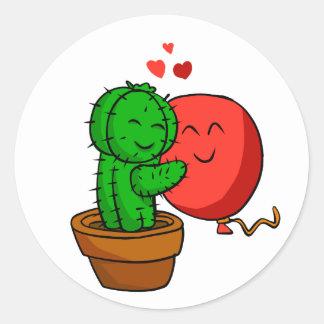 Sticker Rond Cactus étreignant le ballon