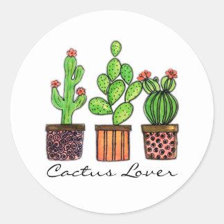 Sticker Rond Cactus mignon d'aquarelle dans des pots