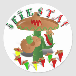 Sticker Rond Cactus w/Sombrero de fiesta et guitare