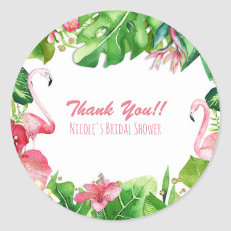 Sticker Rond Cadeau d'anniversaire d'été de tropiques de