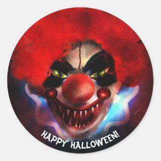 Sticker Rond Cadeau effrayant déplaisant de Halloween de clown