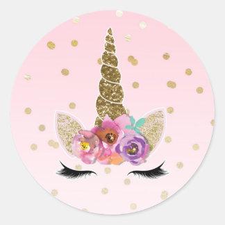 Sticker Rond Cadeau floral d'anniversaire de klaxon de licorne